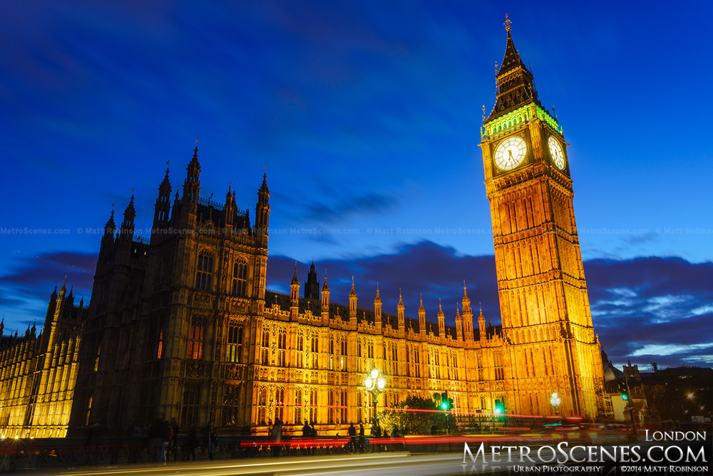 Elizabeth Tower of the Palace of Westminster at night
