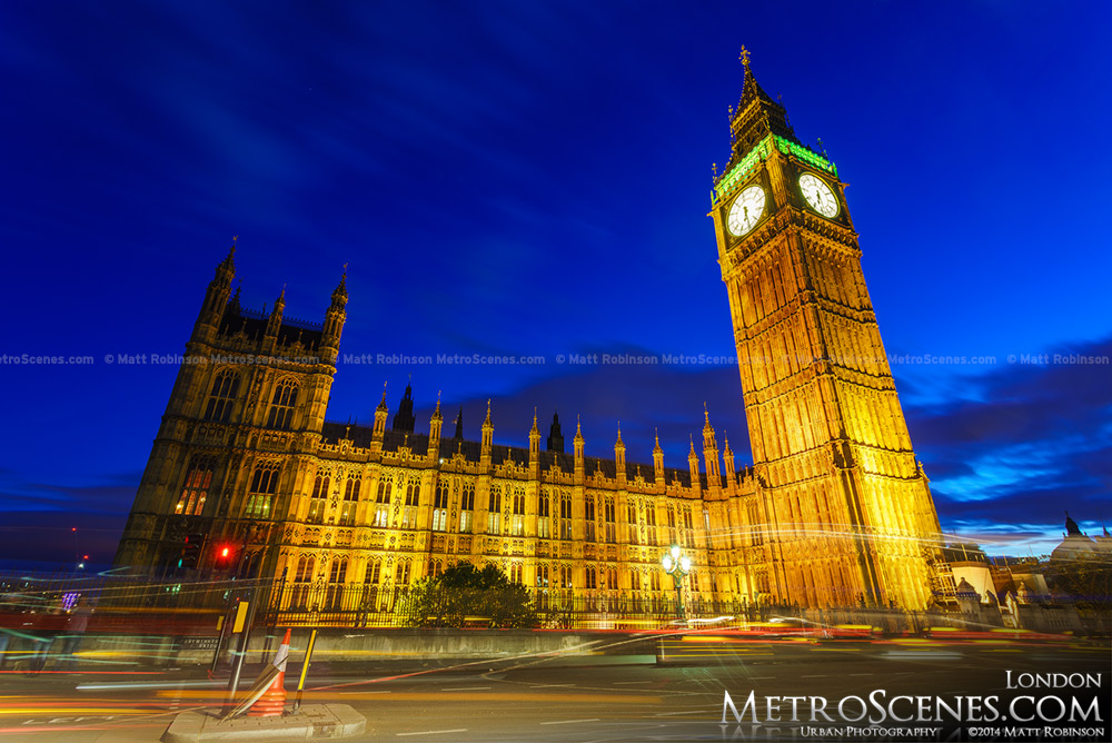 Big Ben and the Palace of Westminster at magic hour dusk
