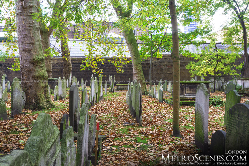Autumn leaves at the Bunhill Fields Burial Grounds, London