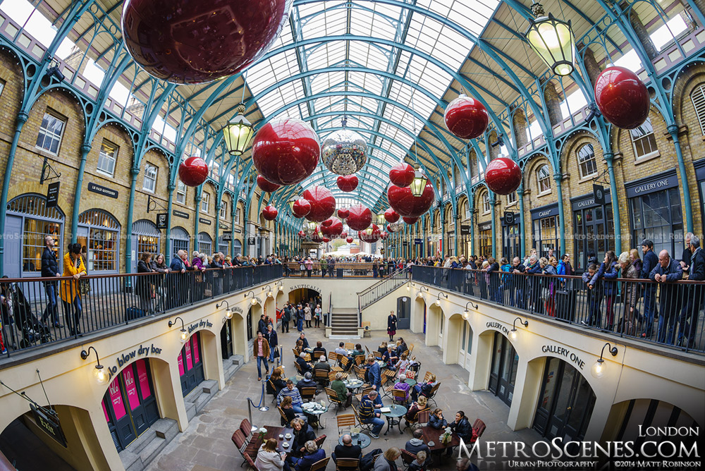 Fisheye of Christmas at London Covent Garden Market