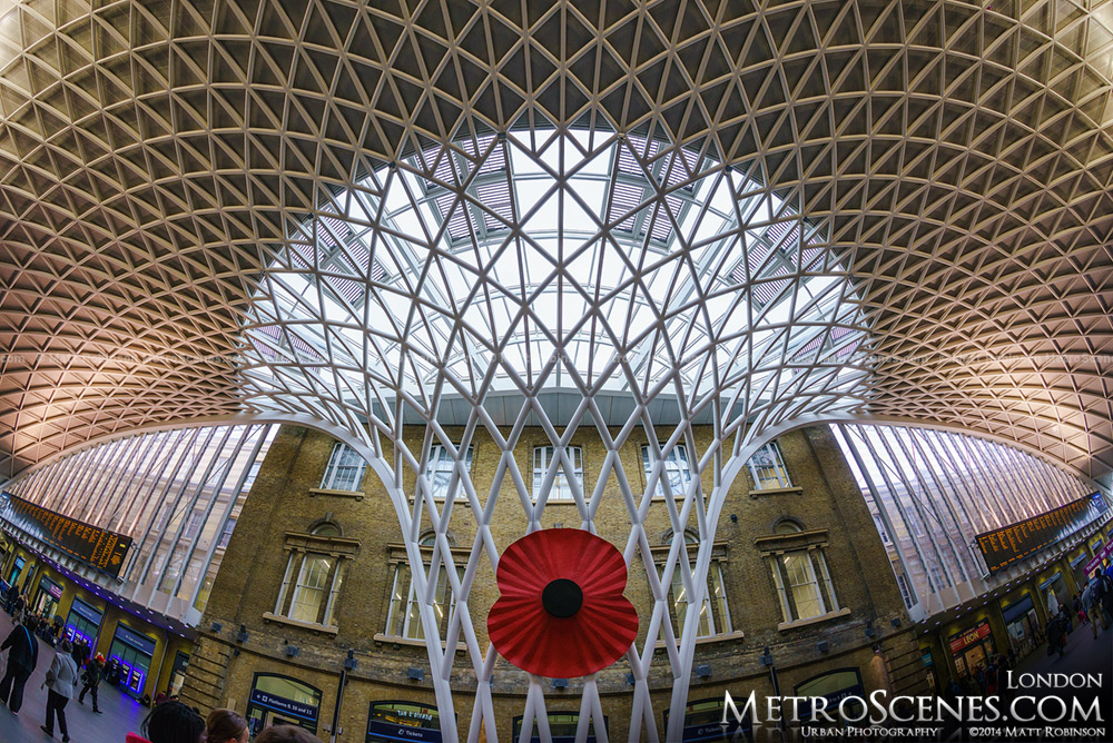 Poppy appeal on the King's Cross Station in London
