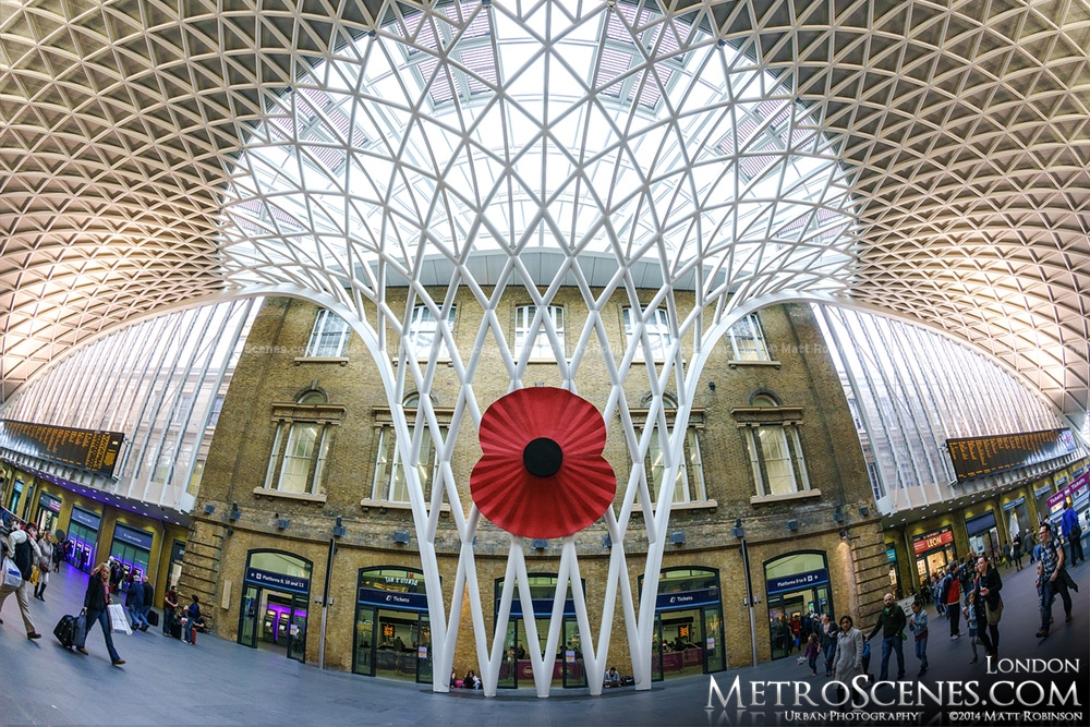 Fisheye of the London King's Cross Terminal with Giant Poppy