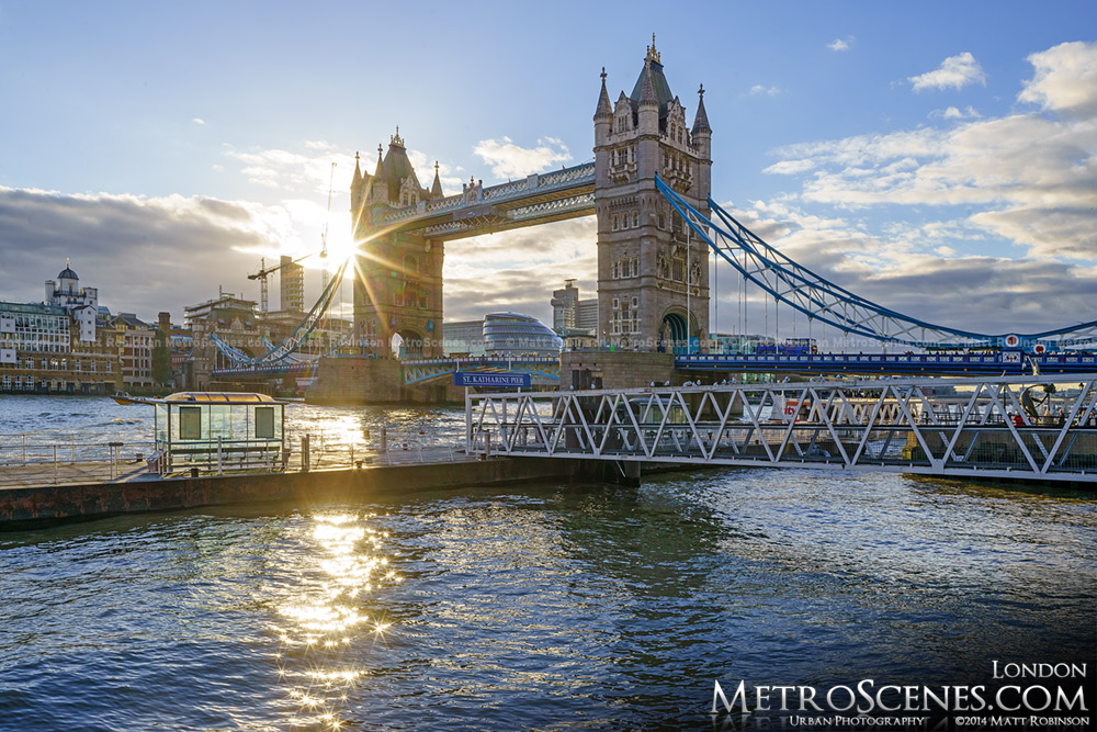 Sunburst through the Tower Bridge in London, United Kingdom