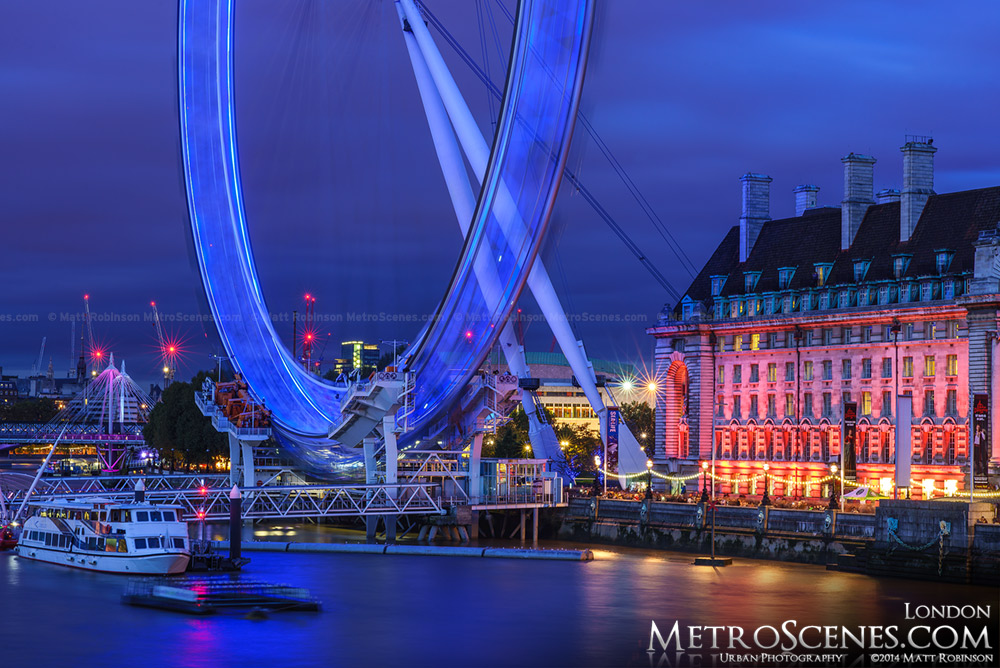 Base of the London eye at blue hour