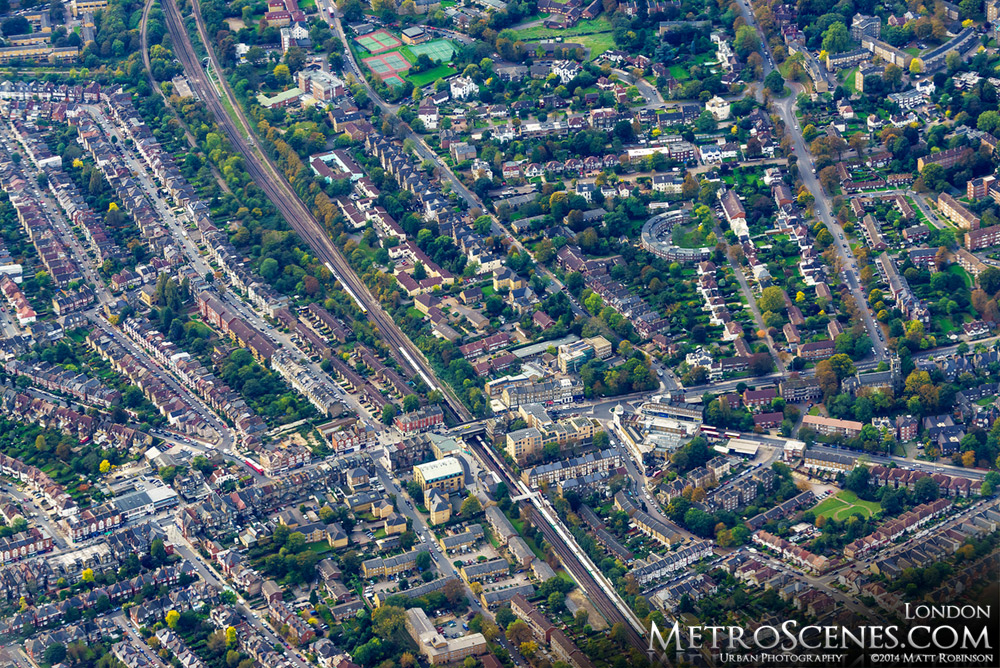 Aerial over London England on approach to Heathrow