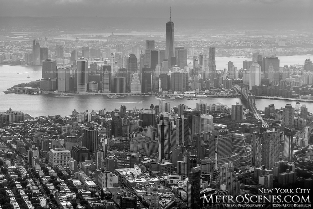 Black and White aerial of New York City