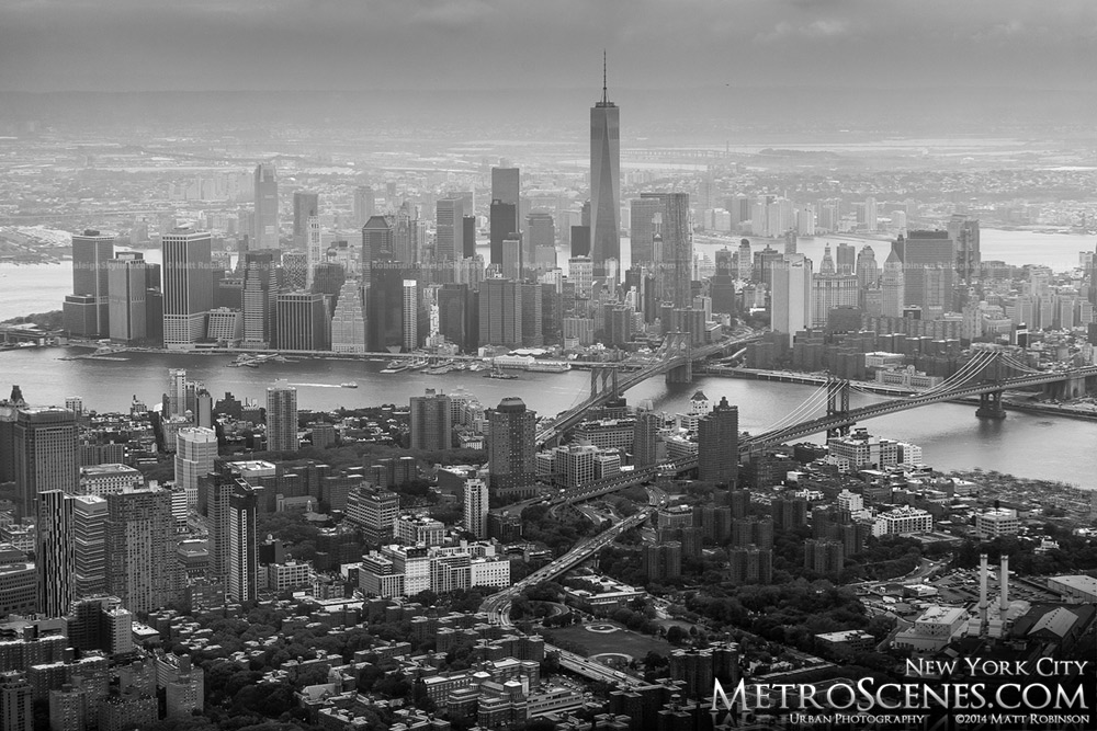 Black and White aerial of Lower Manhattan and Brooklyn
