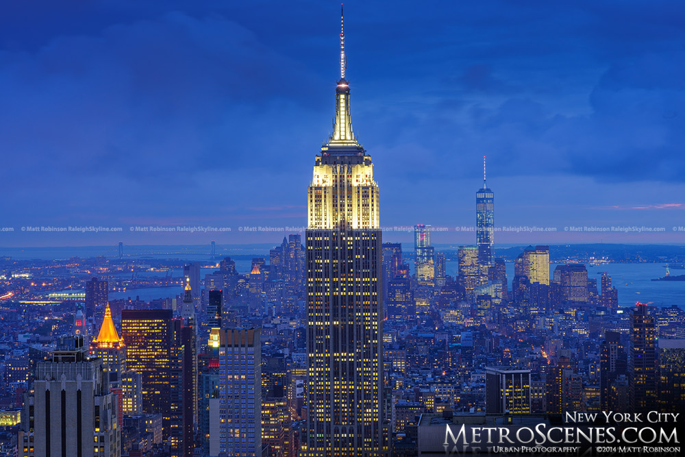 The Empire State Building with One World Trade Center at night