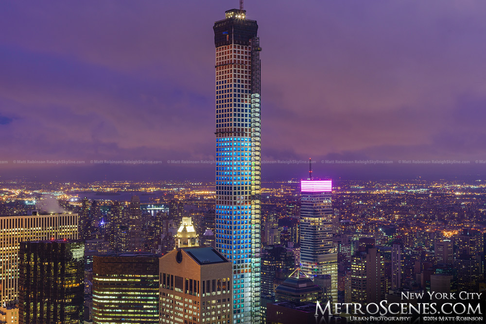 432 Park Avenue Rises on New York at night