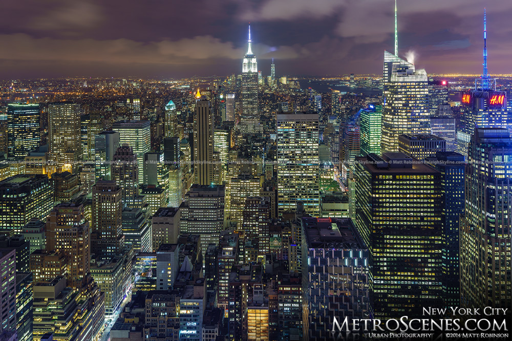 Evening view of New York City Skyline at night