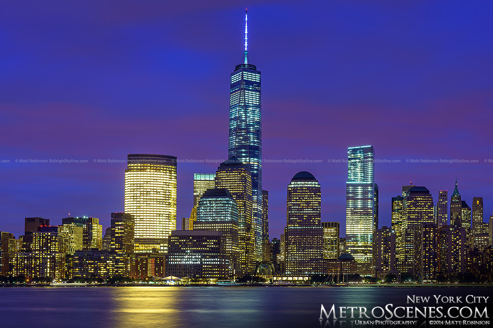 The completed One World Trade Center in the Lower Manhattan Skyline at night