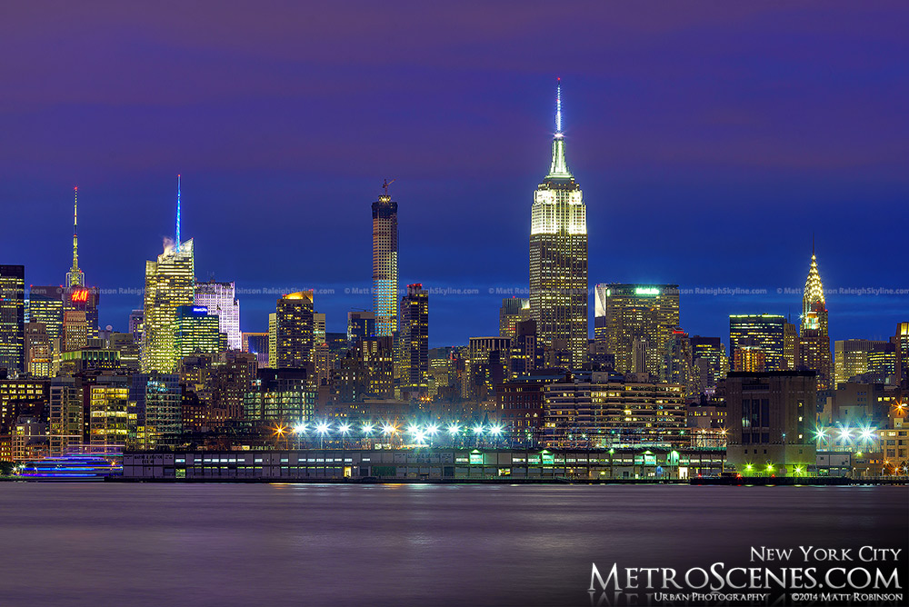 Blue and Purple skies over New York City