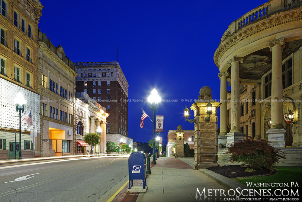 Main Street in Washington PA at night