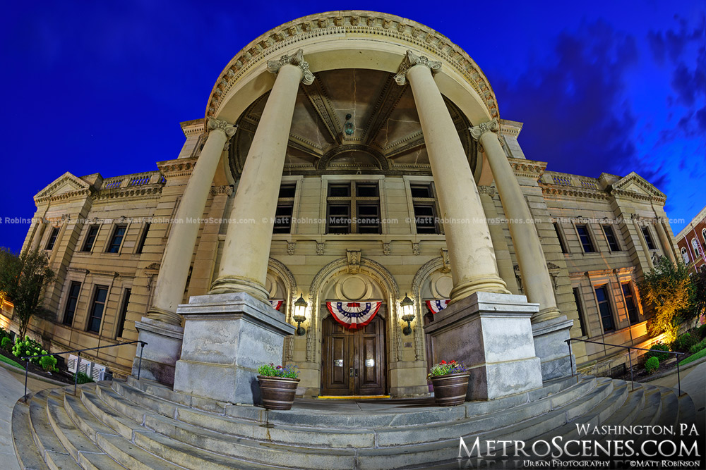 Fisheye of the Washington County Courthouse columns and entrance at night