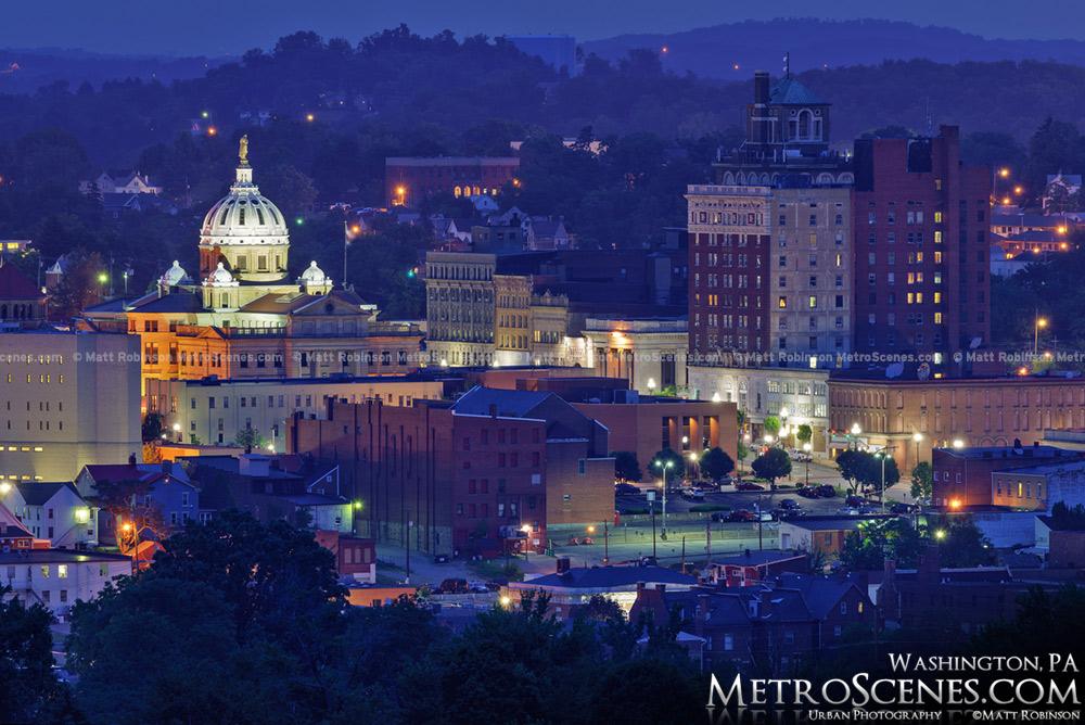 Downtown Washington, Pennsylvania at night