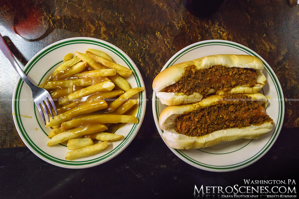 Shorty's Lunch Fries with Gravy and Two with chili