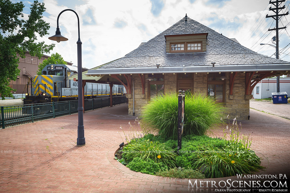 Old Washington Train Station and Allegheny Valley Railroad engine