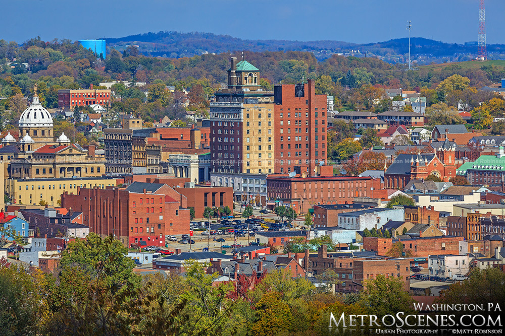 Downtown Washington, PA in Autumn from Washington Cemetery