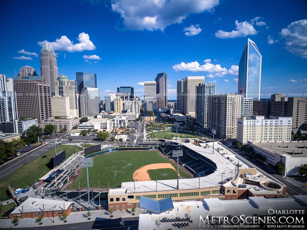 Downtown Charlotte Knights Baseball Stadium Aerial