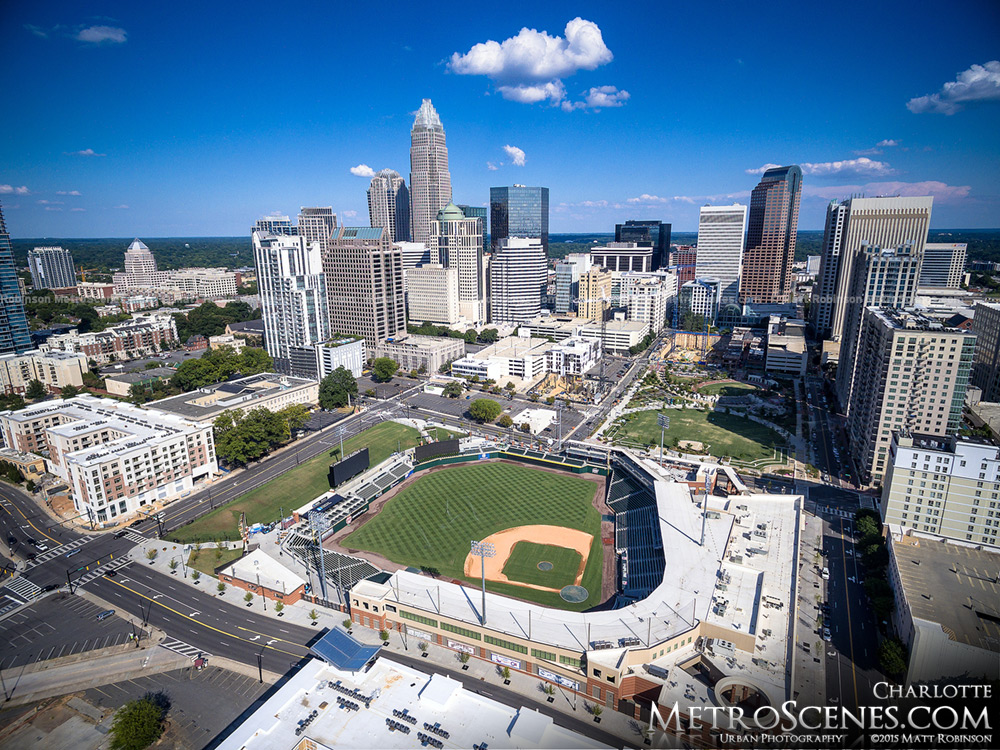Charlotte Knights Baseball Stadium Aerial with Skyline