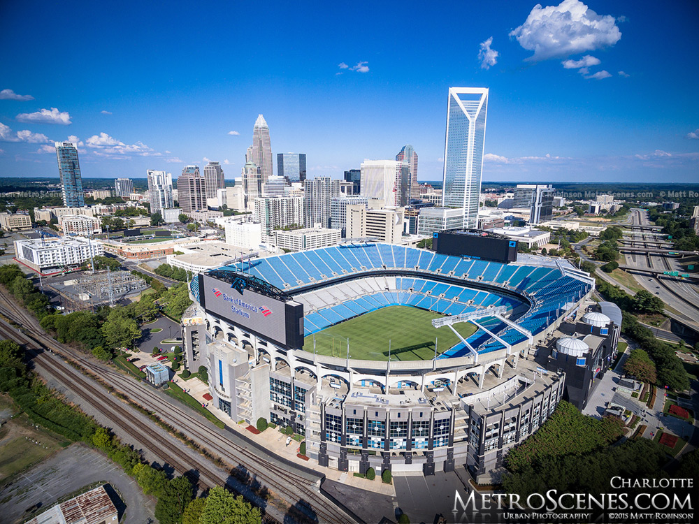 Carolina Panthers Stadium Aerial with Charlotte Skyline 2015