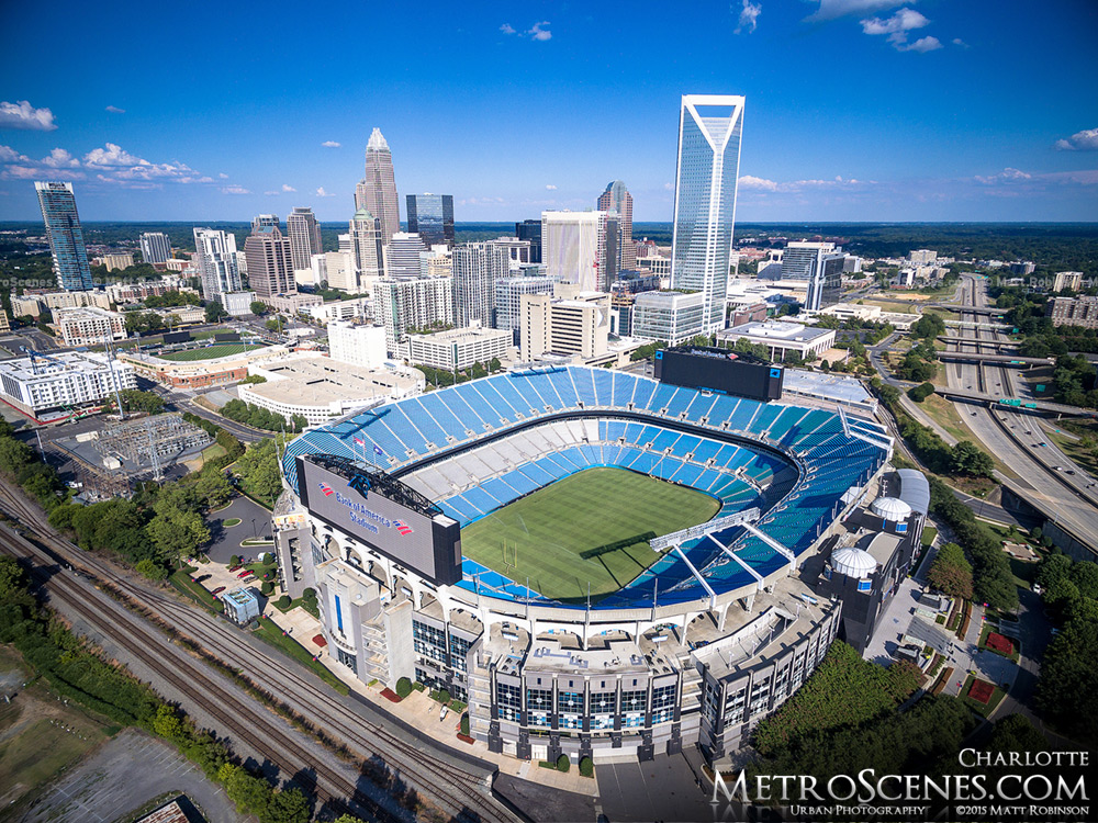Carolina Panthers Stadium Aerial with downtown Charlotte