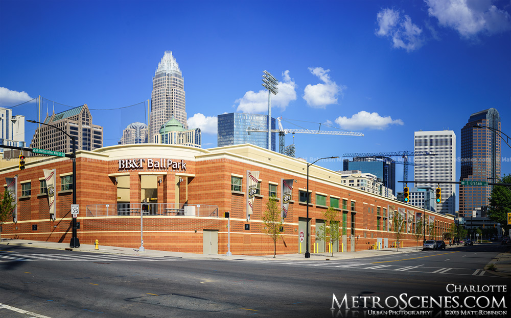 Charlotte Knights Stadium with skyline