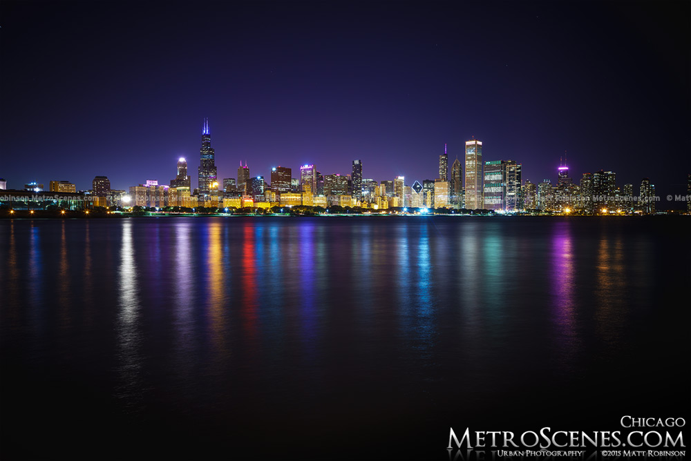 Chicago Skyline at night 2015