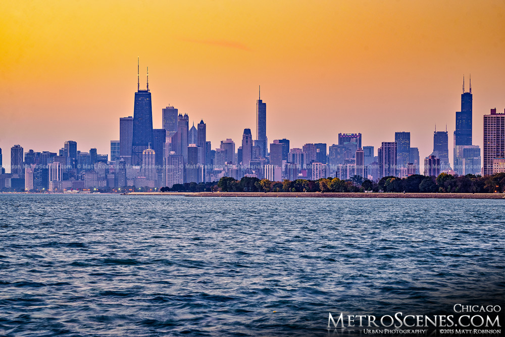 Chicago sunrise from Montrose Harbor