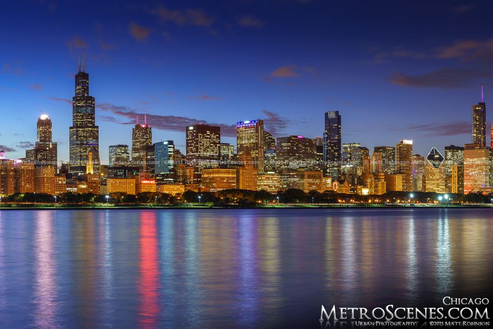 Chicago Skyline Panorama at dusk