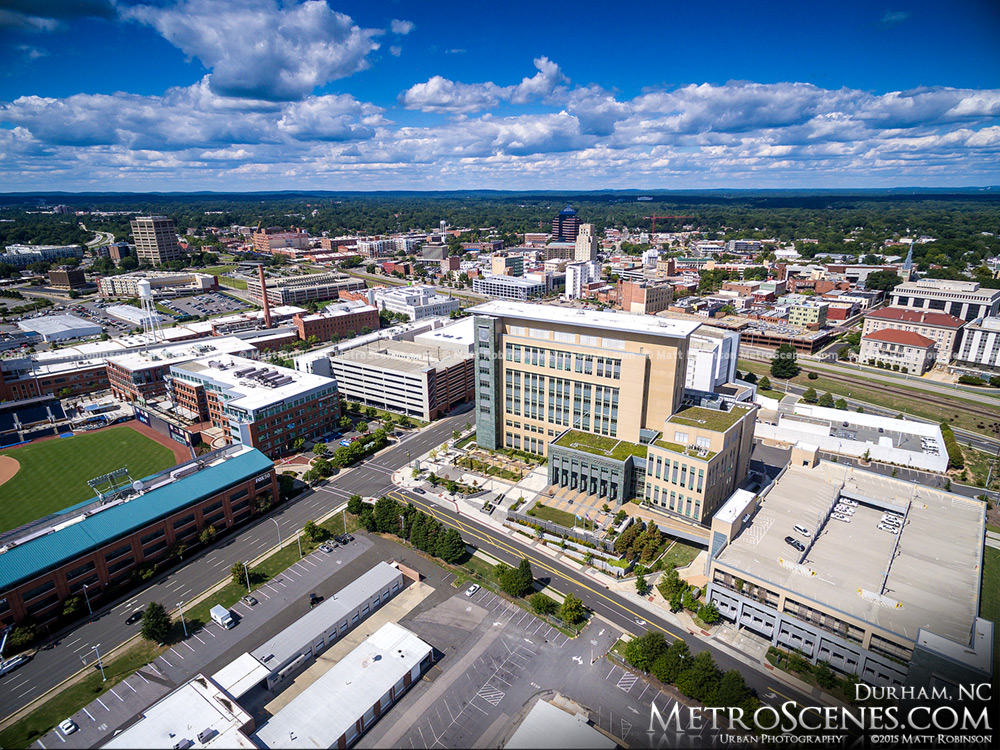 Aerial of Durham County Justice Center and Downtown Durham