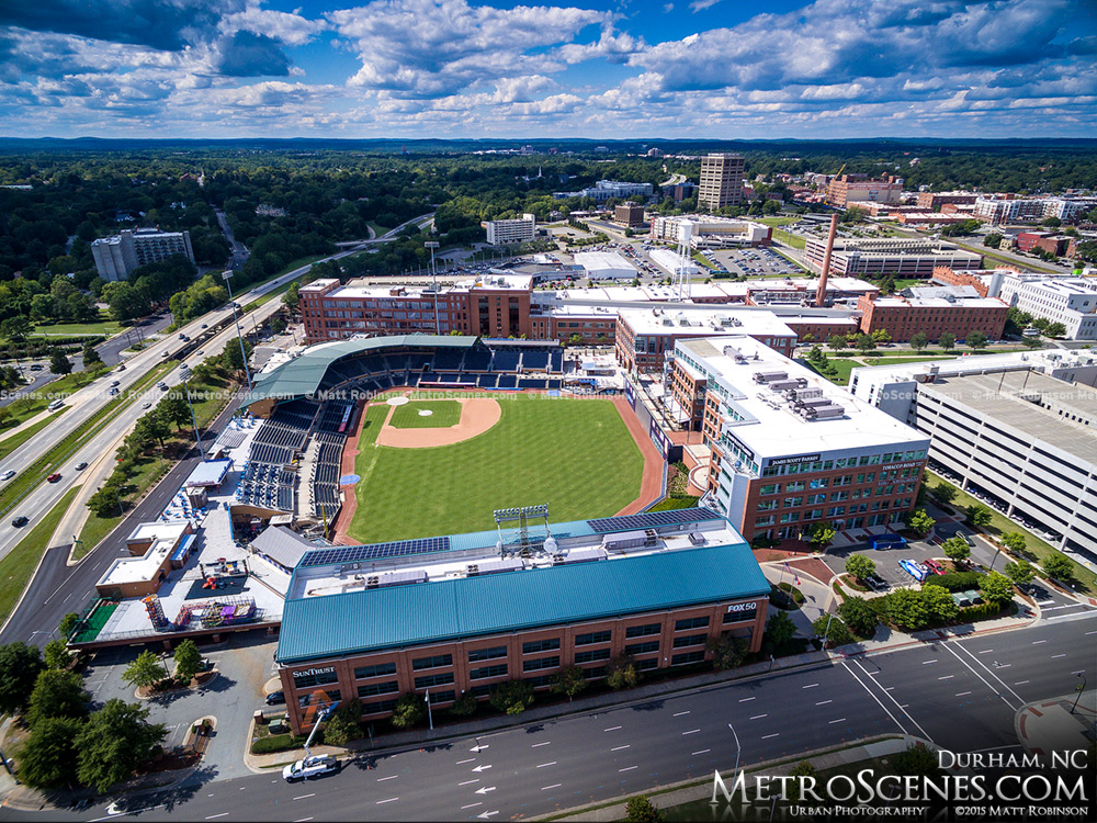 Over Durham Bulls Athletic Park looking east