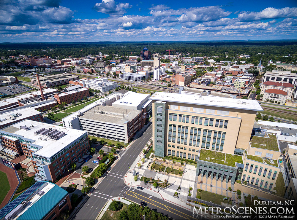 Aerial of Downtown Durham and Durham County Justice Center