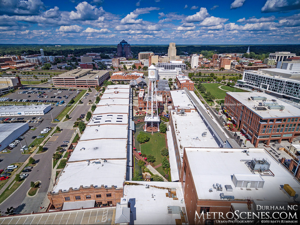 Aerial of the American Tobacco Campus in Downtown Durham