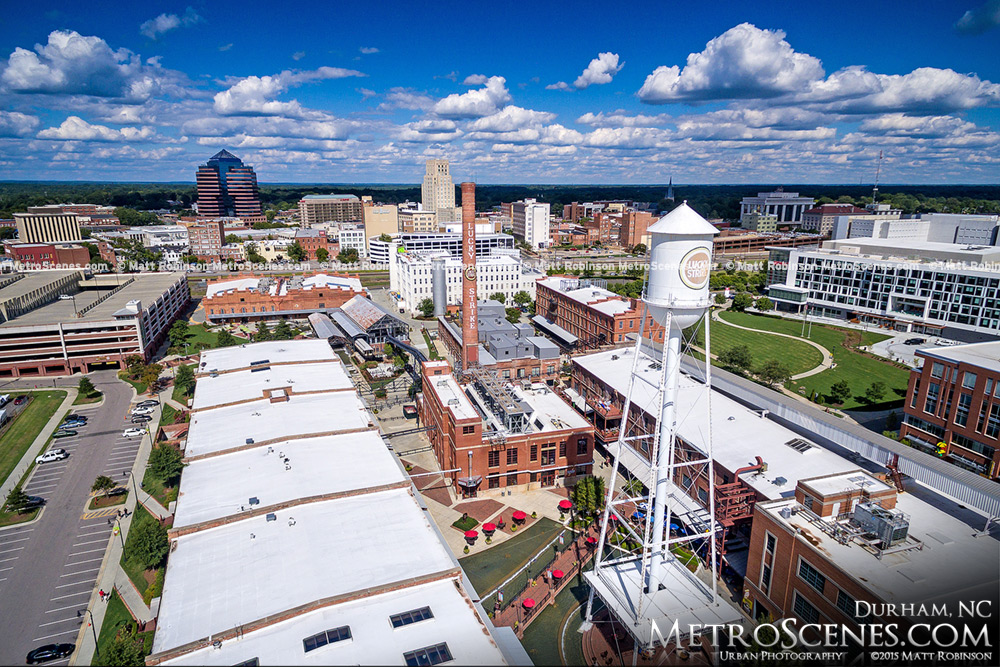 Aerial of the Lucky Strike Water Tower and Downtown Durham, North Carolina