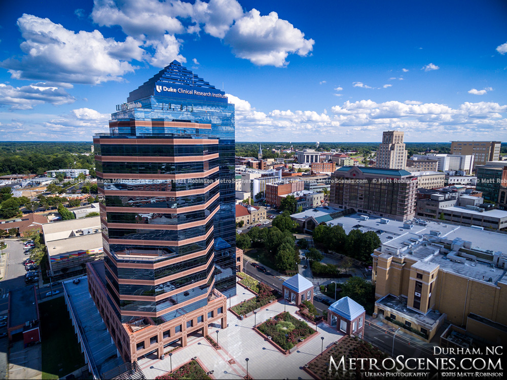 Aerial of Duke Clinical Research Institute Tower in Downtown Durham