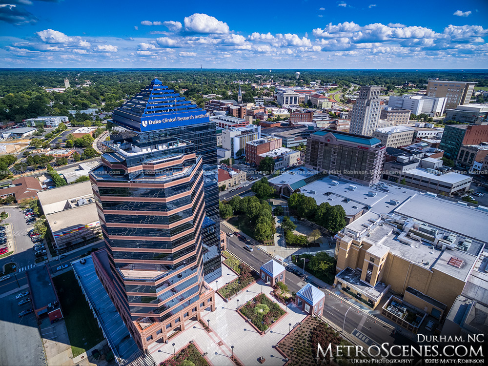 Aerial of Downtown Durham North Carolina Buildings
