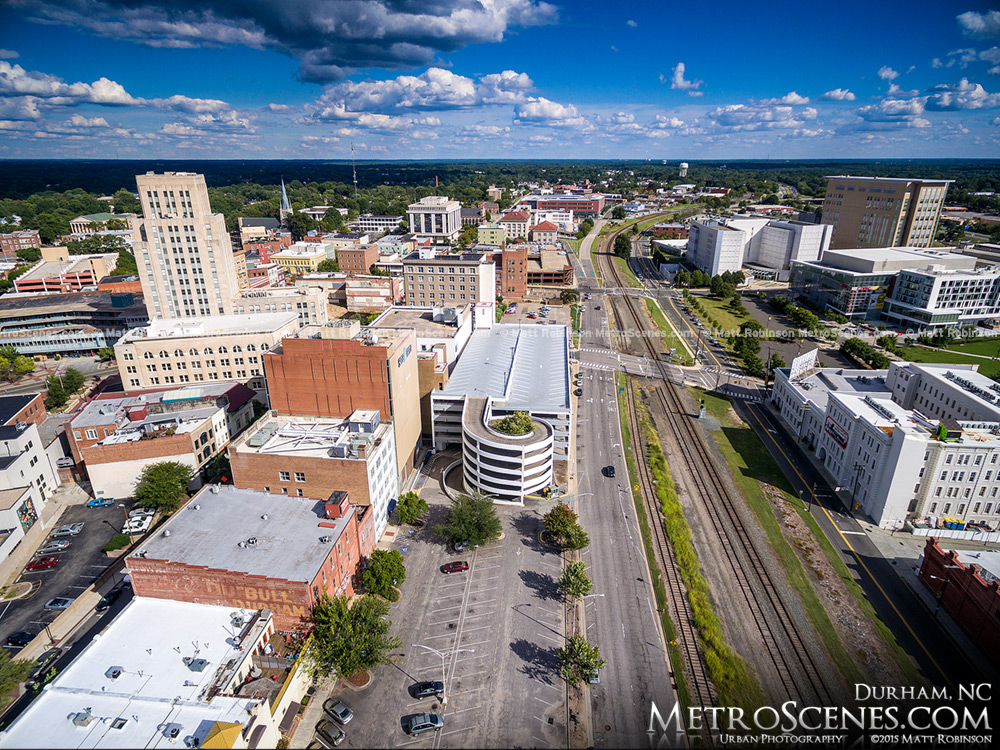 Aerial over Downtown Durham and Railroad Tracks