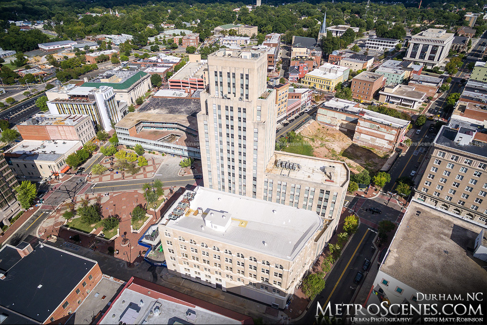 Aerial of the Hill Building in Downtown Durham (21c Hotel)