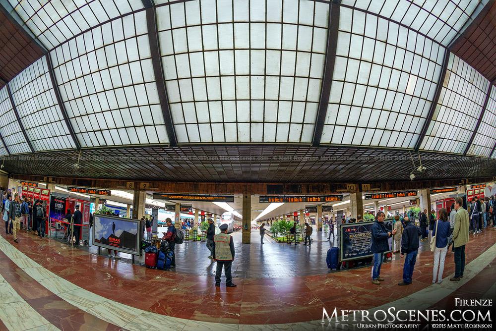 Fisheye of Florence Santa Maria Novella ceiling and train platforms