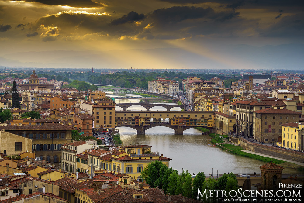 Sunset over Ponte Vecchio and Florence, Italy
