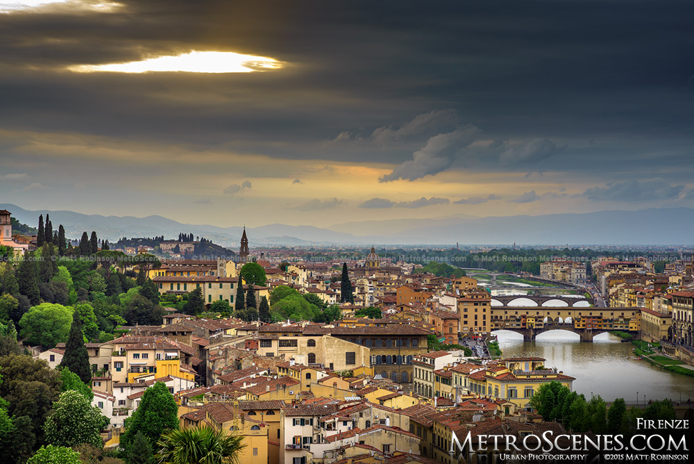 Late sunlight over Florence, Italy