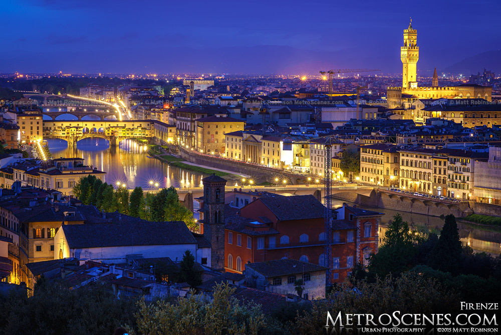 The Arno River and Florence Italy at night
