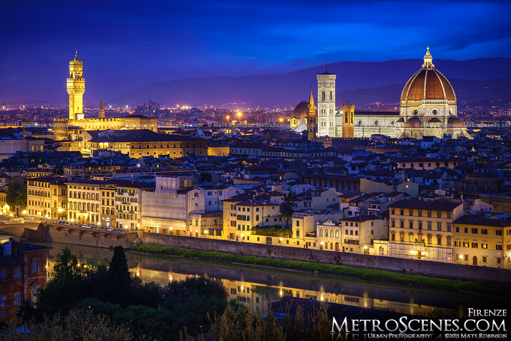 Florence, Italy skyline at night from Piazzale Michelangelo