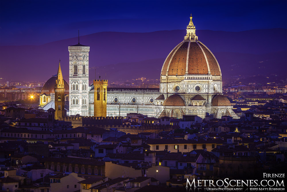 The Illuminated Duomo Santa Maria del Fiore Cathedral in Florence at night