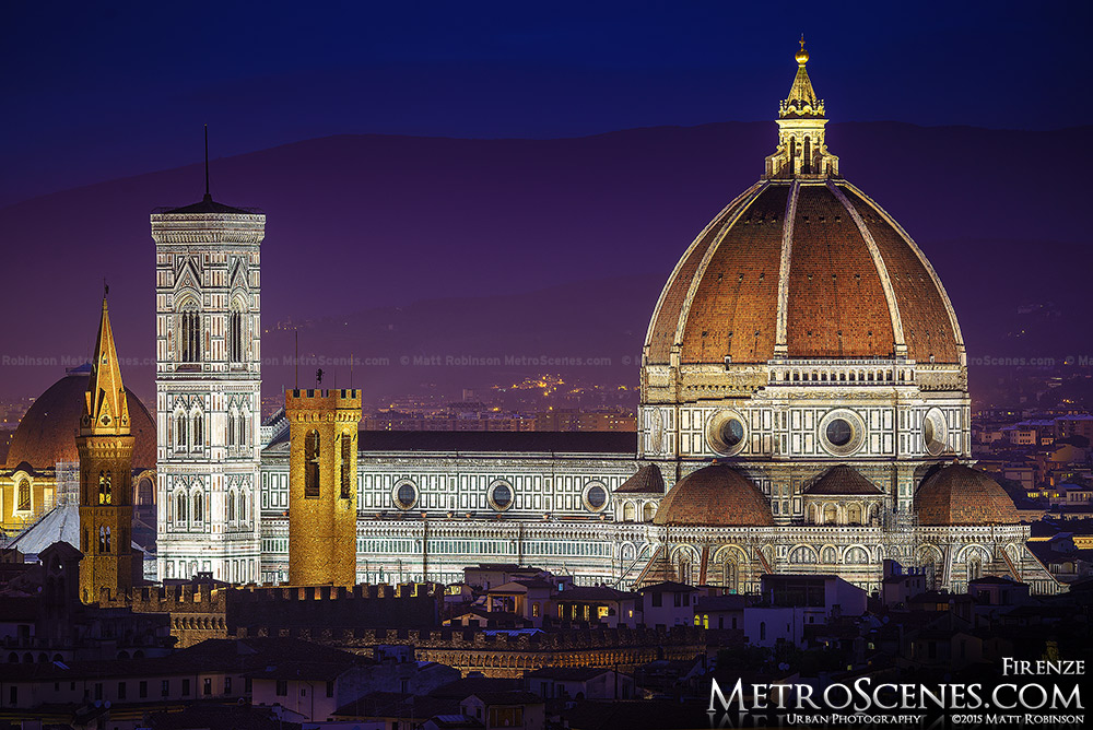 The Florence Cathedral lit up at night