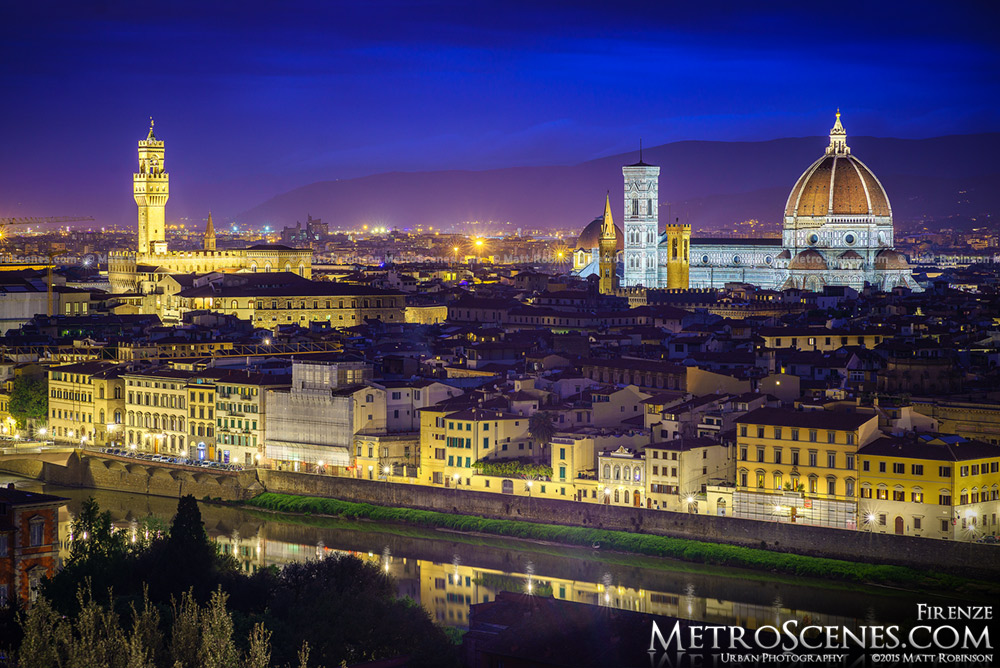 Palazzo Vecchio and the Duomo at night in Florence