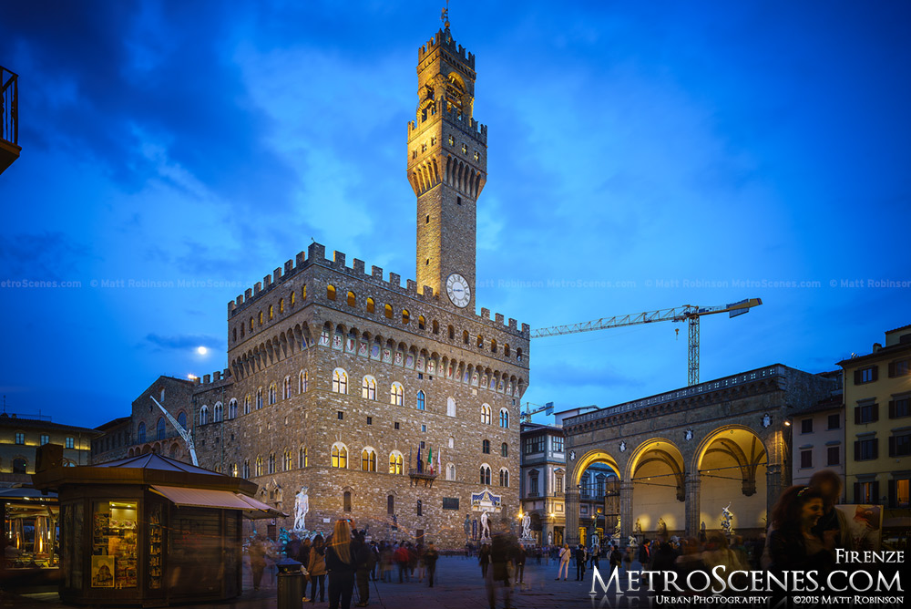 Palazzo Vecchio at dusk in Florence, Italy