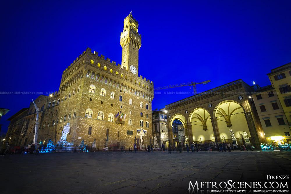 Piazza della Signoria at night