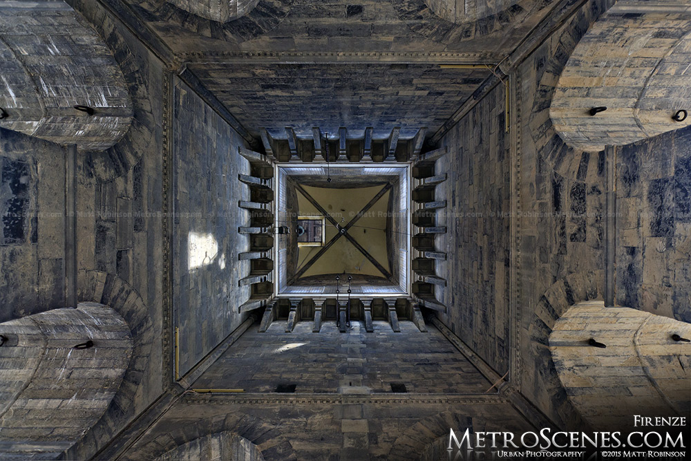 Looking up inside Giotto's Campanile